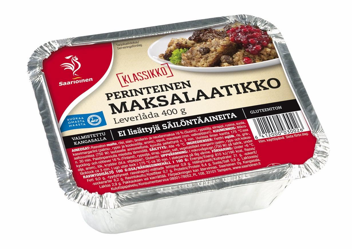 Suomalainen ostaa maksalaatikon mieluusti valmiina, koska sen tekeminen kotona koetaan varsin työlääksi. Kuva: Saarioinen.