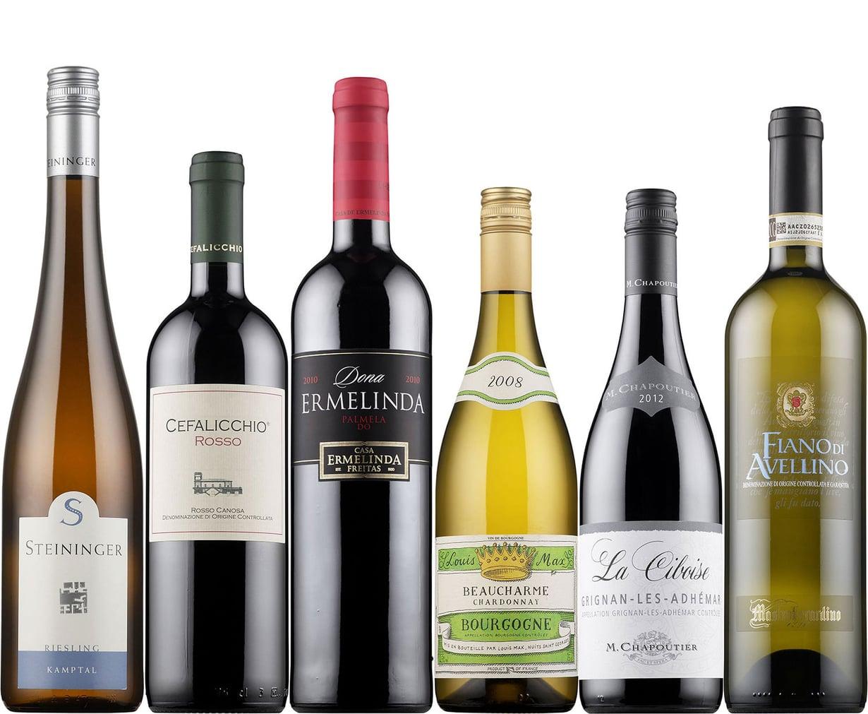 Vasemmalta lukien Steininger Riesling, Cefalicchio Rosso, Dona Ermelinda, Louis Max Beaucharme Chardonnay, La Ciboise ja Mastroberardino Fiano di Avellino. Kuvat: Alko.