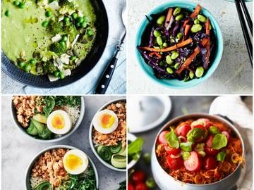 Neljä nopeaa arkiruokaa: herne-parsakaalikeitto, vegevokki, aasialainen broilerikulho ja yhden astian jauhelihapasta.